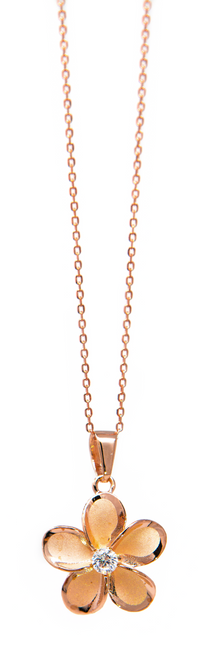 "Rose Gold 18"" Necklace Solid Plumeria Pendant"