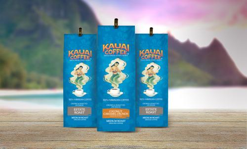 Three 100% Kauai Coffee 7oz flavors in front of a scenic Kauai view