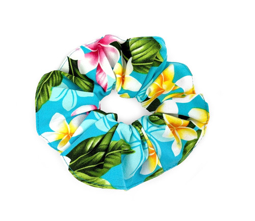 Island Style Scrunchie - Plumeria Chain in Turquoise Color