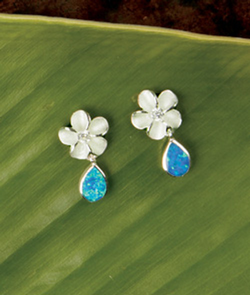 Island Opals® Plumeria Opal Drop Earrings