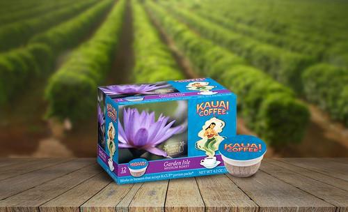 100% Kauai Single Serve K-Cup Coffee - Garden Isle on a coffee field background