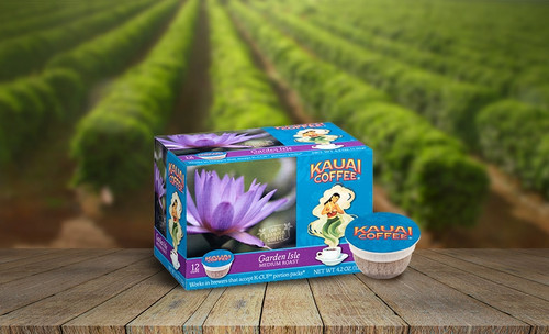 100% Kauai Single Serve K-Cup Coffee - Garden Isle on a coffee field background