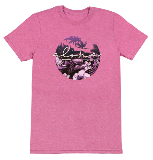 Adult Tee, non-fitted and non-conformed, Aloha Scenic Design in Lavender Heather color. Aloha shown with palm trees and ferns.