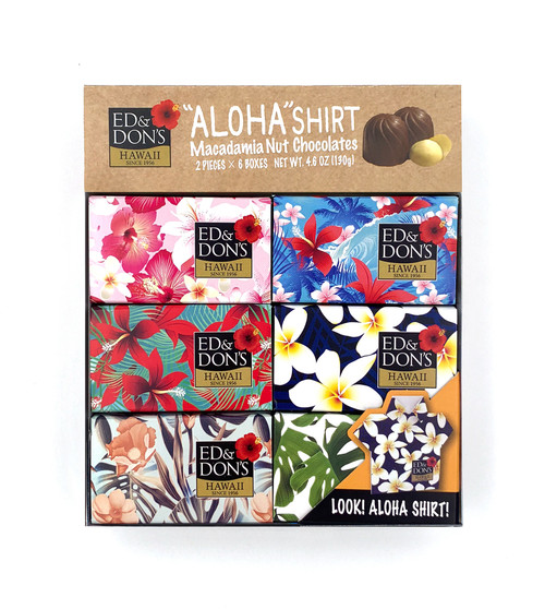 Ed & Don's Aloha Shirt Milk Chocolate Covered Macadamia Nuts 6 pack