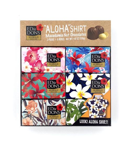 Ed & Don's Aloha Shirt Milk Chocolate Covered Macadamia Nuts 6 pack