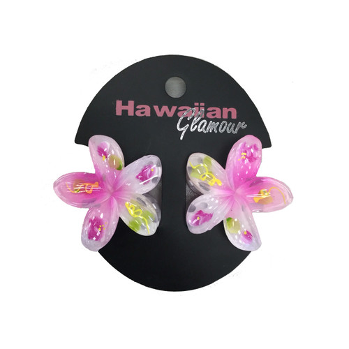 Light Pink Painted Mini Hair Clips by Hawaiian Glamour