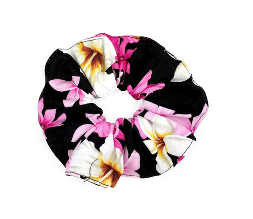 Island Style Scrunchie - Floral Dream in black color with pink, white and yellow assortment of hibiscus and plumeria flowers