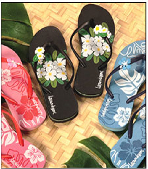 Ladies Tropical rubber slippers with floral design available in pink, black, or blue color