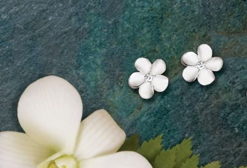 Ku'uipo Sterling Silver Plumeria Earrings