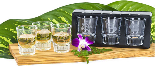 Island Collection Hawaii Etched Shotglass. Top quality and classy 2oz. deep etched designs. Available to purchase as single shot glass in Hawaii Islands, Hibiscus, or Honu designs. Gift Set includes all three designs - Hawaii Islands, Hibiscus and Honu.