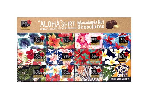 Ed & Don's Aloha Shirt Milk Chocolate Covered Macadamia Nuts 12 pack