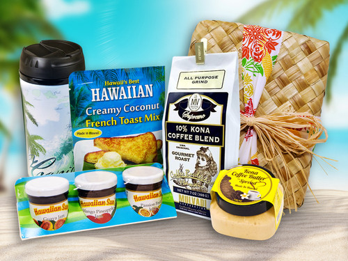 Premium Hawaiian Style Breakfast, an Aloha Gift Set containing a thermo coffee mug, Hawaiian Sun jams/jellies 3pk, Mulvadi Kona blend coffee, Kona Coffee Butter, and Coconut French Toast Mix, all wrapped in a woven lauhala basket