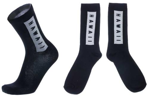 Hawaiian Design Crew Socks in Black & White Hawaii design