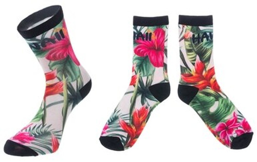 Hawaiian Design Crew Socks in Floral Paradise design