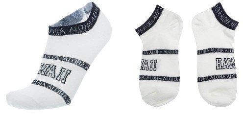 Hawaii Low Cut Socks in White color with Hawaii design
