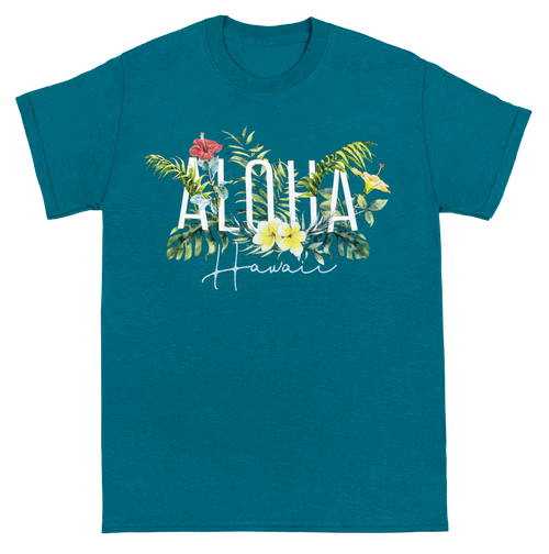 Adult Tee, non-fitted and non-conformed, Garden Design in Teal color. Aloha Hawaii shown with ferns and island flora.