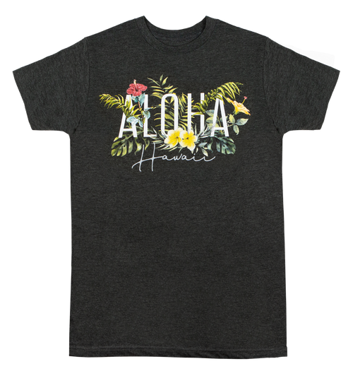 Adult Tee, non-fitted and non-conformed, Garden Design in Charcoal Heather color. Aloha Hawaii shown with ferns and island flora.