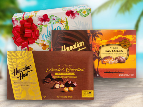 Hawaiian Host Founder's Collection Milk Chocolate Covered Macadamia Nuts and Maui Caramacs make it this delightful gift set, complete with delightful tropical wrapping paper and a red bow!