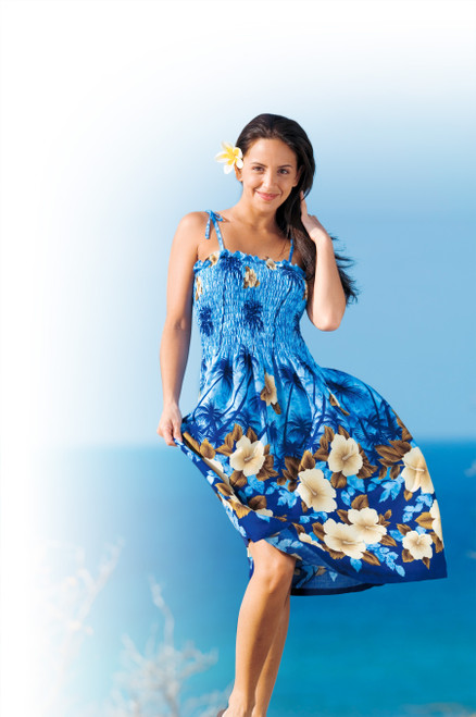 Female model wearing Ladies Elastic Tube Dress - Blue Hibiscus Palm