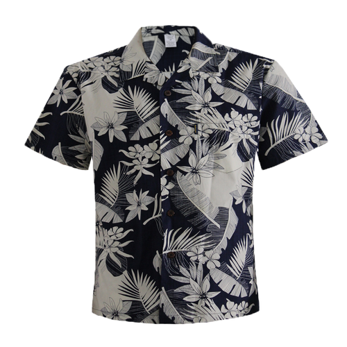 Men's Cotton Aloha Shirt - Navy with Cream Floral