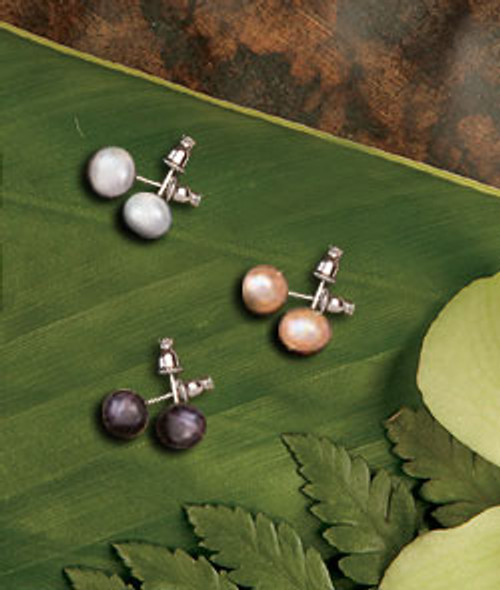 Genuine Fresh Water Pearl Earrings in white, black, and coral colorings