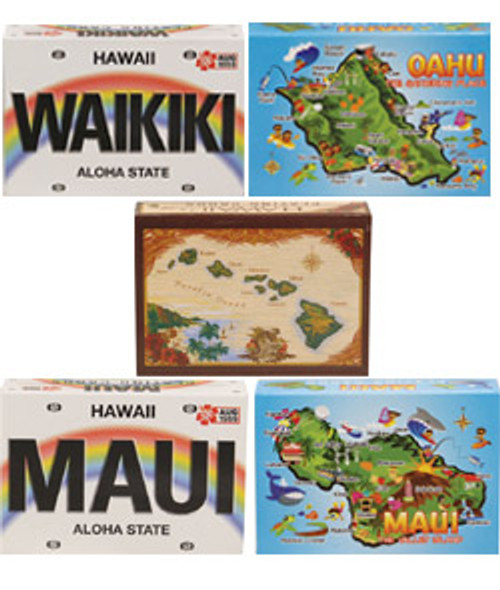 Hawaiian Design Playing Cards in Waikiki License, Oahu Map, Island Chain, Maui License, and Maui Map designs