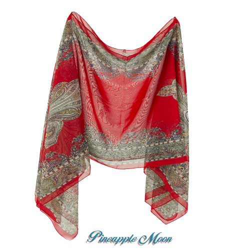 Pineapple Moon - All Season Scarf Cover-Up - Paisleys / Red-Gray