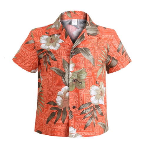 Aloha Shirt - Brick Floral