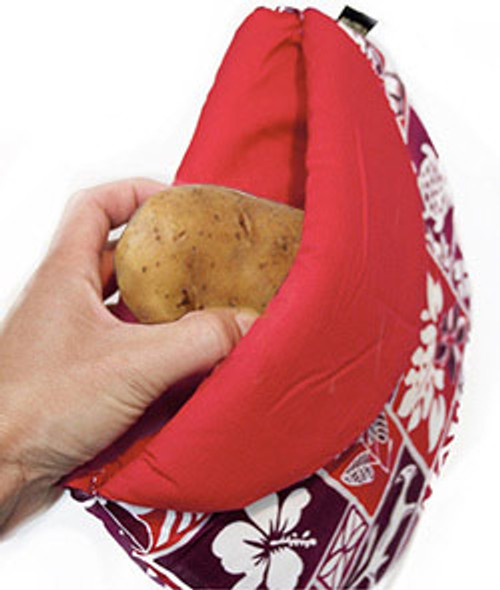 The Maui Micro Magic Potato Pocket is washable, and creates the perfect steam pocket to give your potato just the right amount of moisture. Featured in a red color.