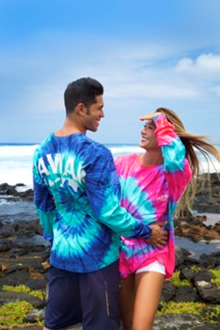 Male model wearing Hawaii Tie Dye UNISEX Long Sleeve Jersey Tee