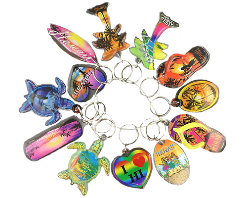 Lucite Keyring 12 Pack in Hawaiian Assorted