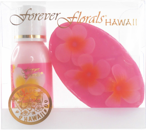 Forever Florals® Hawaiian Mini Gift Set, which includes a 1oz lotion bottle and 2oz glycerin soap, in the the Plumeria Scent