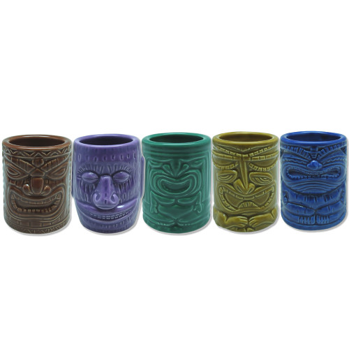 Tiki Shotglass in following designs: Brown - Lucky Tiki, Purple - Big Ihu Tiki, Sea Green - Winner Tiki, Gold - Entertainer Tiki, Blue - Happy Tiki