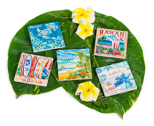 Sandstone Coaster in following design Aloha Coastal, Aloha Honu, Aloha Surfboards, Hawaii Beach Scene, Honu, Hula Palms, Seashell Palms