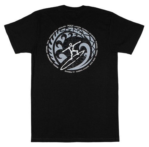 Crew Neck Tee - MAUI Petro Wave - Black