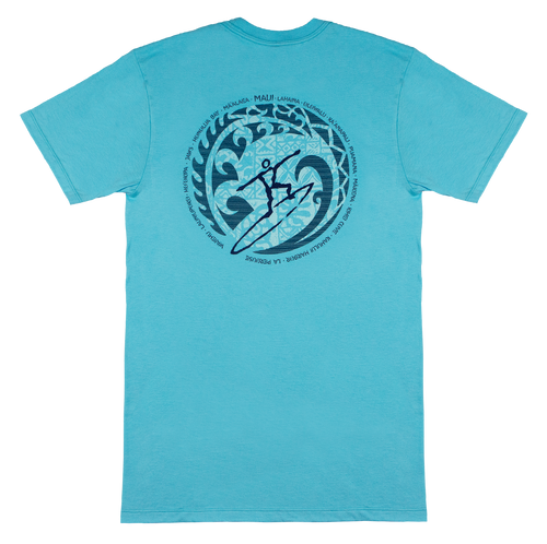 Crew Neck Tee - MAUI Petro Wave - Pacific Blue