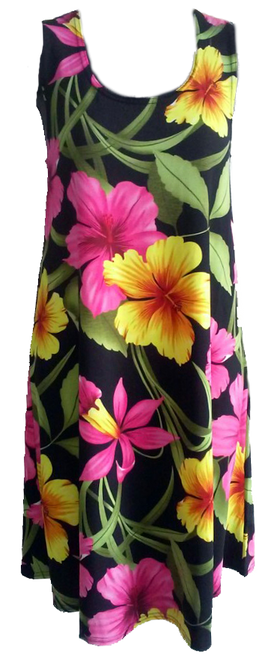 Ladies Stretch Slinky Dress in Pink & Yellow color