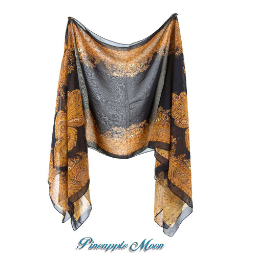 Pineapple Moon - All Season Scarf Cover-Up - Paisleys / Navy-Rust