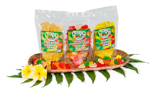 Fruit of the Islands Gummi Bears - Pineapple, Tropical, and Mango flavors