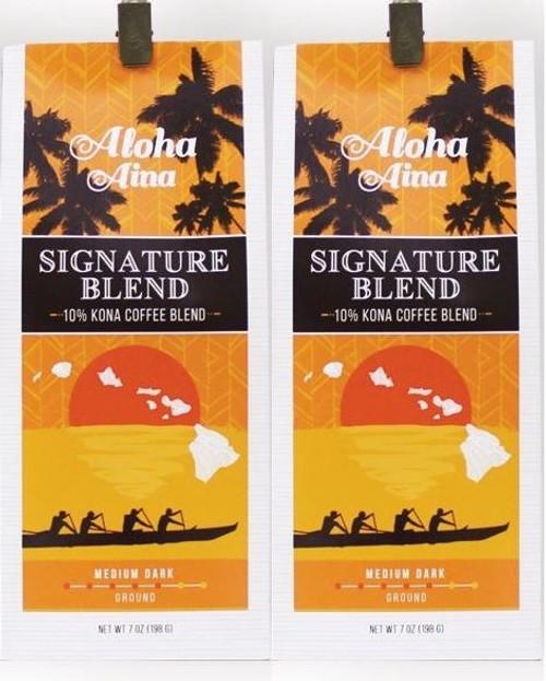 Aloha Aina 10% Kona Blend Coffee 2 Pack Gift Set