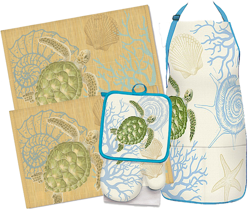 Hunny Houseware Set in Honu Voyage design. The set comes with an apron, matching kitchen set which includes a kitchen towel, oven mitt, & pot holder, and two matching bamboo placemats.