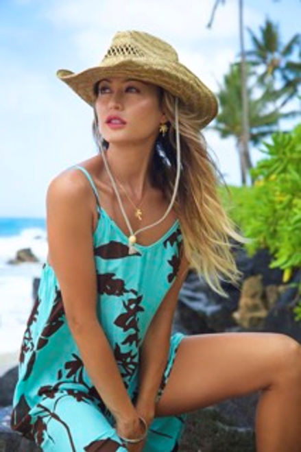 Female model wearing NAPUA COLLECTION SUNDRESS in Haleconia - Turquoise with Brown color & design combination