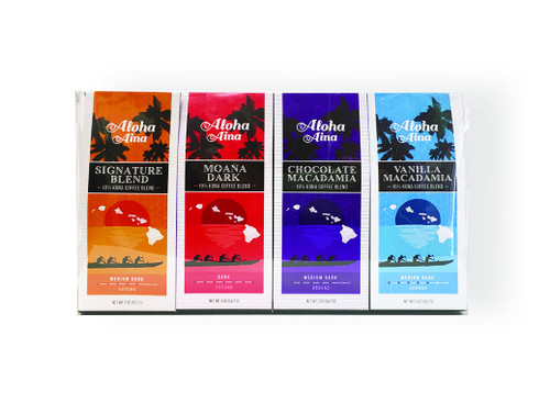 Aloha Aina 10% Kona Blend Coffee 4 Pack Gift Set - Includes Signature Blend, Vanilla Macadamia Nut, Moana Dark, and Chocolate Macadamia Nut flavors