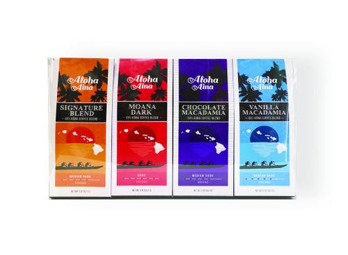 Aloha Aina 10% Kona Blend Coffee 4 Pack Gift Set - Includes Signature Blend, Vanilla Macadamia Nut, Moana Dark, and Chocolate Macadamia Nut flavors