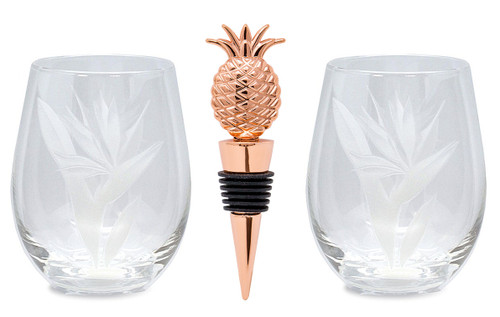 Two Etched Stemless Wine Glasses in Bird of Paradise design with a copper colored Pineapple wine stopper (also available in silver and gold colorings).