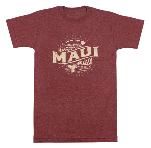 Vintage Dyed Tee - Islands MAUI in Maroon Heather color