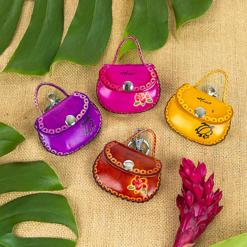 Mini Purse Keyring Currently available in the following colors: Purple, Pink, Yellow, Brown