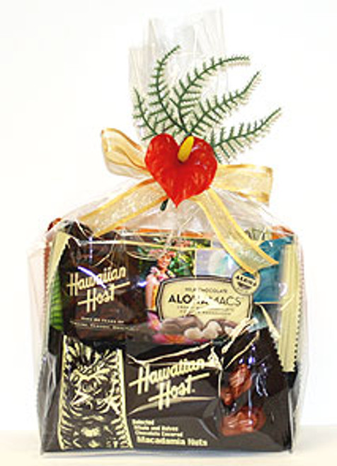 Cello Wrapped 8 Pack Gift Set of Hawaiian Host Chocolate Snack Bars with a decorative flourish.