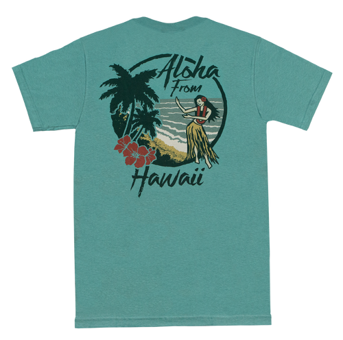 Vintage Dyed Tee - Hula in Sea Green color