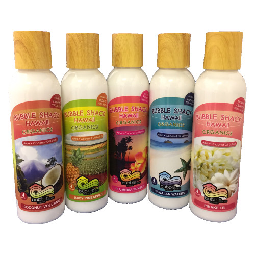 Bubble Shack 4oz Lotion in the following scents from left to right: Coconut Volcano, Juicy Pineapple, Plumeria Sunset, Hawaiian Waters, and Pikake Lei